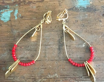 Earring clips red beads