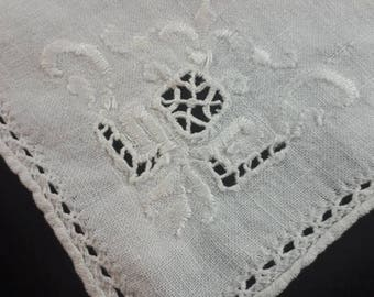 Vintage Handkerchief with Cut Out Embroidery, Wedding Handkerchief, White Hanky 1960s