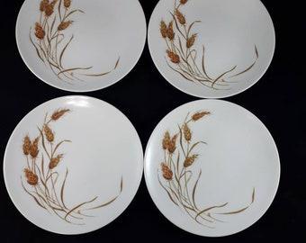 Melmac Wheat Salad Plates Set of 4, Melamine Wheat Dessert Plates, Vintage 1950s