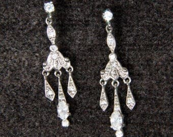 Crystal and Diamond Chip Earrings