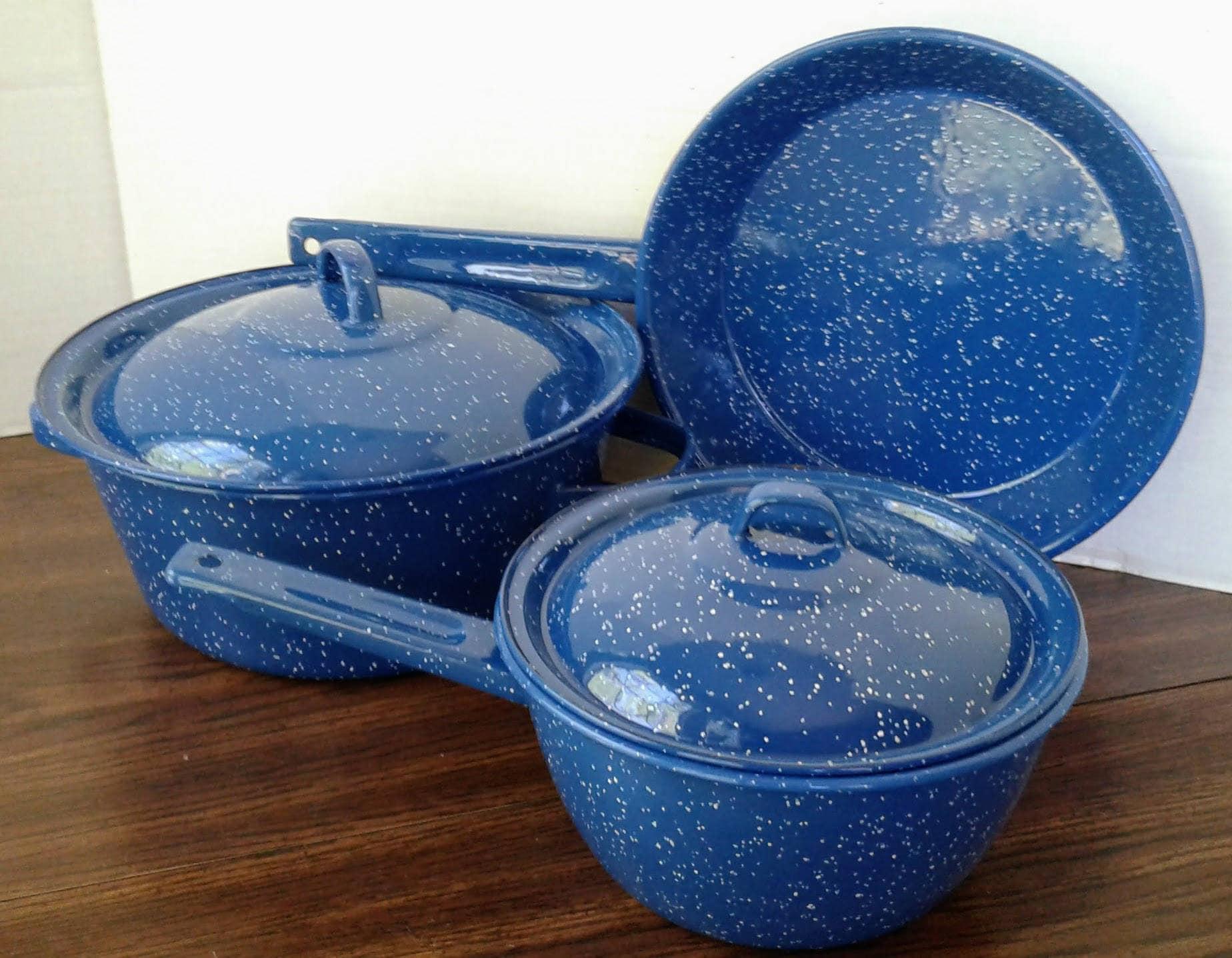 Blue Enamel Pots And Pans Enamelware Graniteware Camping Gear