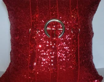 Red Sequins All Over Luxury Pillow Cover