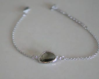 Silver chain bracelet glass Olive - wrist and ankle