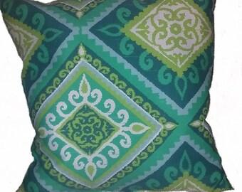 Green Diamond Throw Pillow