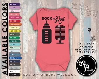 Funny Baby Onesie, Funny Baby Clothes, Funny Tee, Graphic Baby Tee, Trendy Tees, Custom Onesie, Shower Gift, Rock n Roll, Music Onesie