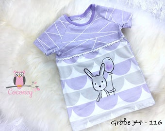 Baby T shirt lilac & white - girl tshirt animals - Jersey rabbit T-Shirt handmade children's clothing - tailor made child