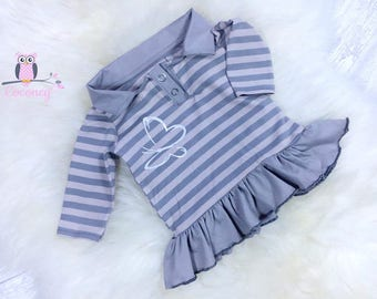 Baby shirt beige & gray - girls striped sweater application - Jersey stiff shirt - hand made children's clothing - tailor made child