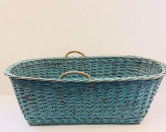 French blue, vintage large laundry basket