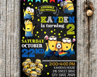 Minion Invitation, Minion Birthday Invitation, Minion, Minion Printable, Minion Birthday Card, Minion invites, Minion Party, Minion Card