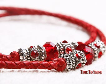 "Kangaroo Leather dog show lead of Red leather 39"" long with Pandora beads for your dog"