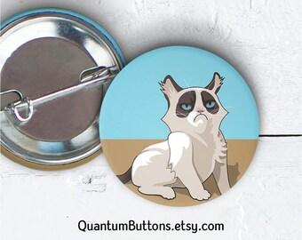 "Grumpy Cat Button, 1.5"" Pin-back Button, Cat Pin, Meme Badge, Grumpy Cat Pin, Cat Button, Party Favor, Meme Flair 087"