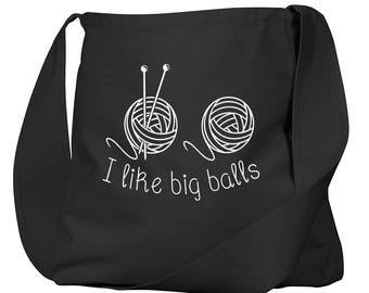I Like Big Balls Black Organic Cotton Slouch Bag