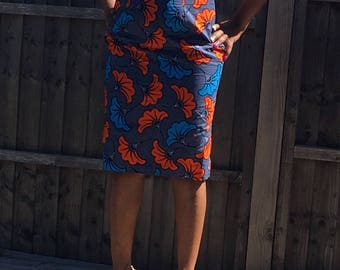 African Pencil Skirt, African Print Skirt, Ankara Skirt, Zip down Skirt, Dashiki