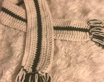 Cream and green crochet scarf, fringe