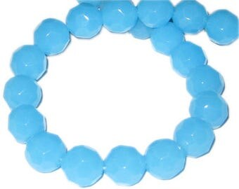 "12mm Soft Turquoise Faceted Round Semi-Opaque Bead, 13"" string"