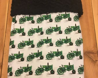 Green tractor themed baby blanket