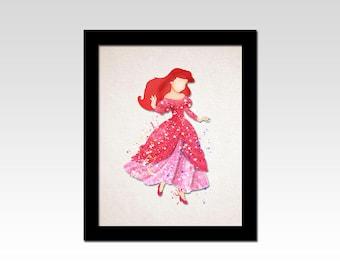 The Little Mermaid inspired Ariel pink dress print