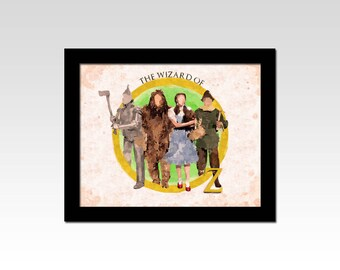 The Wizard of Oz inspired Tin Man, Cowardly Lion, Dorothy, Toto and Scarecrow watercolour effect print