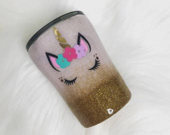 Personalized Mini Unicorn Glittered Tumbler Gift Ombre Glitter Tumbler