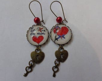 """Earrings cabochon 20mm theme Valentine love """"Key to my heart""""."""