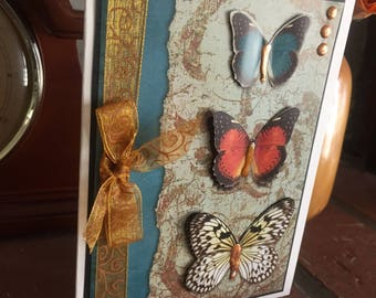 Beautiful Butterfly Note Card, Birthday Card, Thinking of You, Sympathy, male or female card, lovely colors, dimensional,