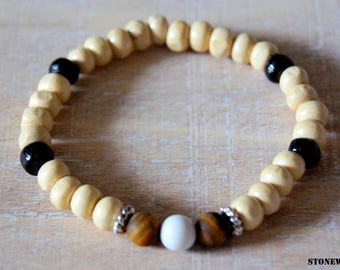 Bracelet wood beads and natural Tiger eye gemstone beads