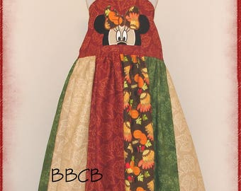 Girls Minnie Autumn Fall Festival Harvest Dress - Ready to Ship fits aprox 7/8 8/9 + -- Thanksgiving Holiday