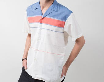 Vintage Polo Shirt / Mens Medium Leo Chevalier White Blue and Pink T-shirt / Casual Short Sleeved Sporty Summer Beach Golf Jock Shirt