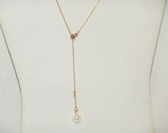 Gold Ball And Pearl Chain Minimalist Necklace
