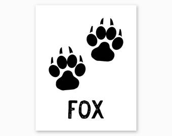 FOX TRACKS, Fox Wall Art, Fox Printable, Housewarming Gift, Rustic Nursery, Woodland Nursery, Rustic Decor Ideas, Instant Download