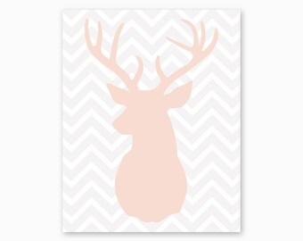 BUCK ANTLERS, Deer Nursery, Nursery Printable, Chevron Nursery, Pink Gray Nursery, Woodlands Nursery, New Baby Gift, Instant Download