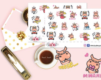 Cute Hippo Sticker, Hippo Emoticon Stickers, Funny Sticker, Mermaid Hippo Planner Sticker, Scrapbook Sticker, Planner Stationary Accessory