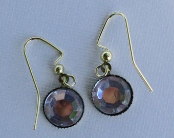 Crystal and Gold Dangle Earrings