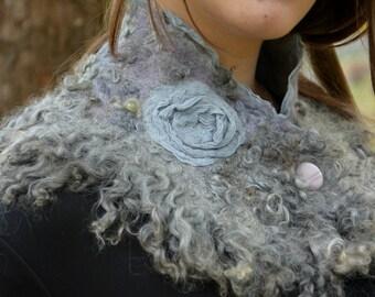 Gray felt scarf wool wrap shawl merino real fur collar winter warm neck bohemian felted scarf fringe felted scarf  chunky wool yarn