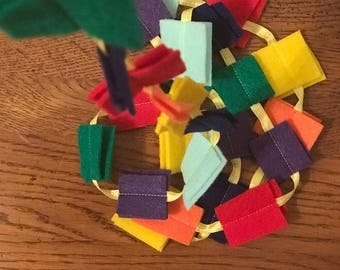 Rainbow square garland, confetti garland, Party decorations, confetti bunting, rainbow confetti, party decor felt garland rainbow felt