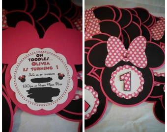 Pink Polka Dot Minnie Mouse Invites...Minnie Mouse invitations...disney minnie mouse...pink and gold minnie mouse invitations