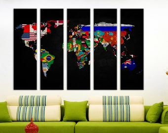Canvas wall art Geographical World map Canvas World map Wall Art Canvas Print Wall decor Home decor World map canvas Travel world map