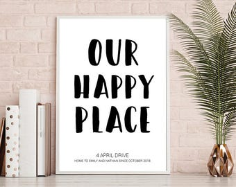 New Home Print, Our Happy Place, A4 Print, Home Decor