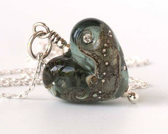 Sterling Silver & Grey Lampwork Glass Heart Necklace
