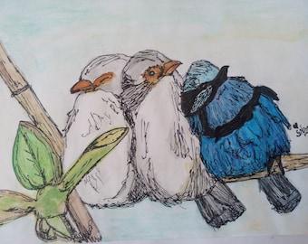 Fairy wrens falling asleep - original watercolour