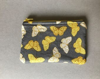 Yellow and Gray Butterfly Pencil Pouch / Pencil Bag / Pencil Case