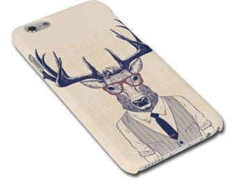 Stag/Deer Man Wearing Glasses Hipster Phone Case for iPhone 6 or 6s