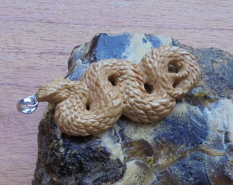 Hand Carved Snake Bone Pendant, Snake Carving in Brown Antique Bali Bone Jewelry P63