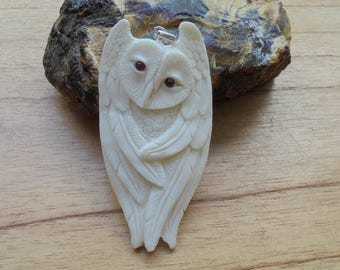 Owl Bone Pendant with Garnet Stone, Bali Bone Carving Jewelry  OWL 05