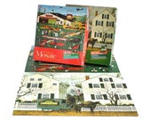 Charles Wysocki Mosaic Puzzle 300 Pieces Jigsaw Puzzles for Adults Milton Bradley, Four Aces Flying School, Jacob Amherst Dove Milkman, MB