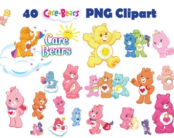 INSTANT DL- 40 x Care Bears clipart png - printable Digital Clipart Graphic sticker Instant Download