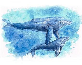 Whale watercolor Illustration - Original Art