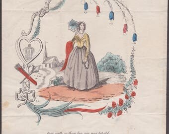 Valentine 1849 Feb 13th Letter sheet with a printed hand painted picture of a lady outside a church surrounded by a garland of flowers.
