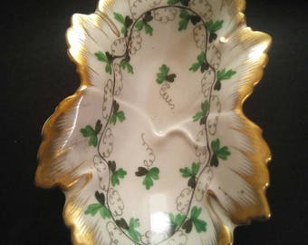 Herendi Hungarian Porcelain  leaf Dish Ornament with  Gold Gilt Edging  A three leaf clover design, A Display for a  cabinet or side table