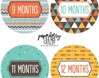 Baby Boy Tribal Monthly Baby Stickers // Month to Month Stickers // For First Year Milestones // Onesie Stickers